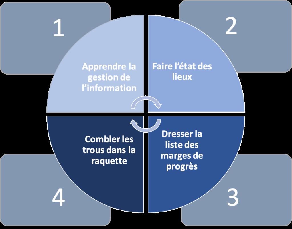 Schéma des prestations proposées par le consultant en intelligence économique Bee's Eye